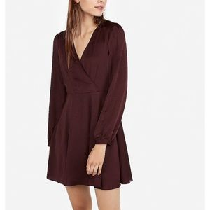 Long sleeve surplice fit and flare dress